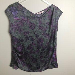 Rebecca Taylor Gray Purple Silk Blouse size 8 2158